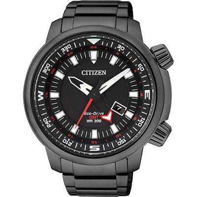 CITIZEN PROMASTER 光動能雙時區腕錶(BJ7086-57E)-黑/46mm