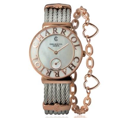 CHARRIOL夏利豪ST-TROPEZ 愛心鎖鍊腕錶-珍珠貝30mm