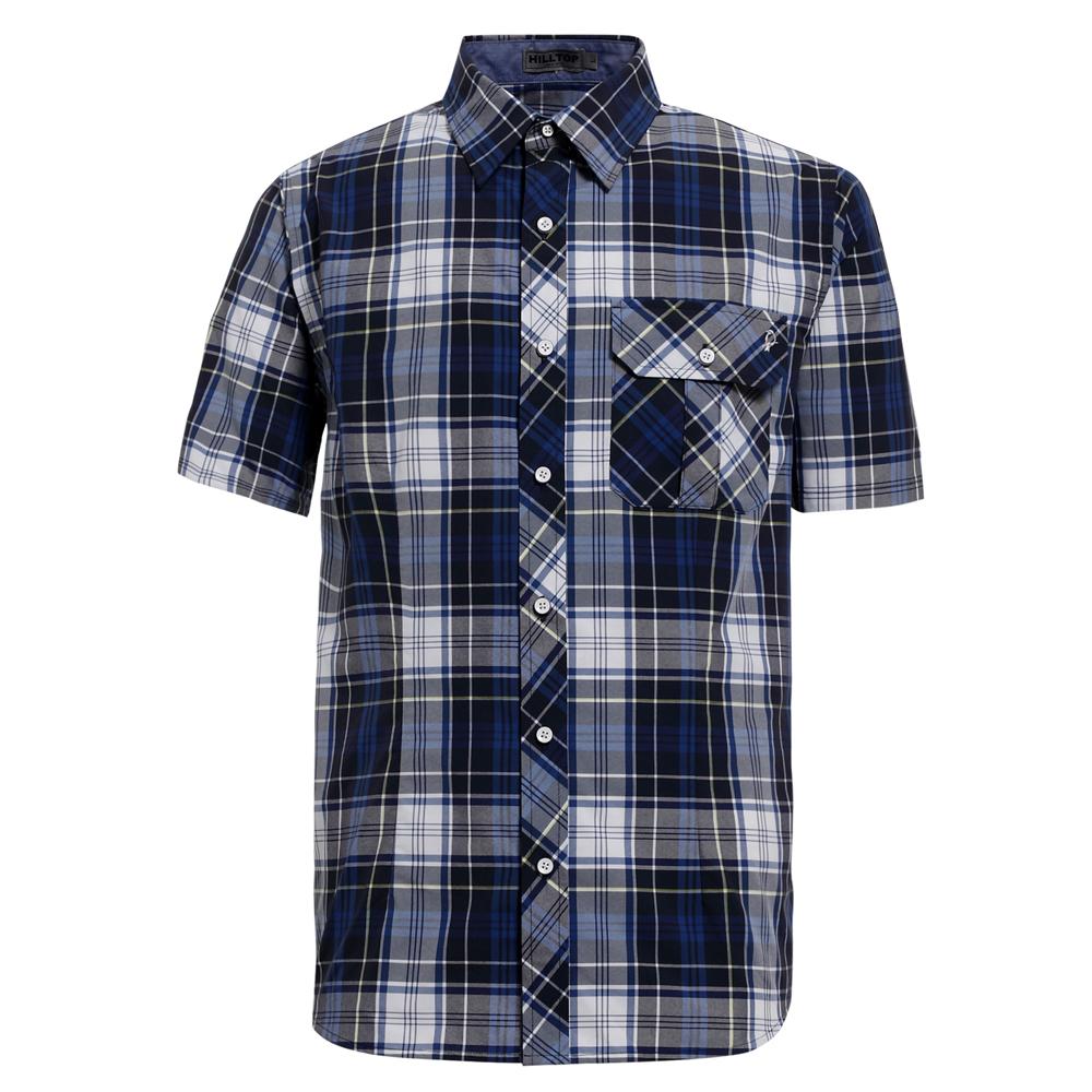 【hilltop山頂鳥】男款抗UV吸濕快乾短袖襯衫S06M55-深藍/白格子