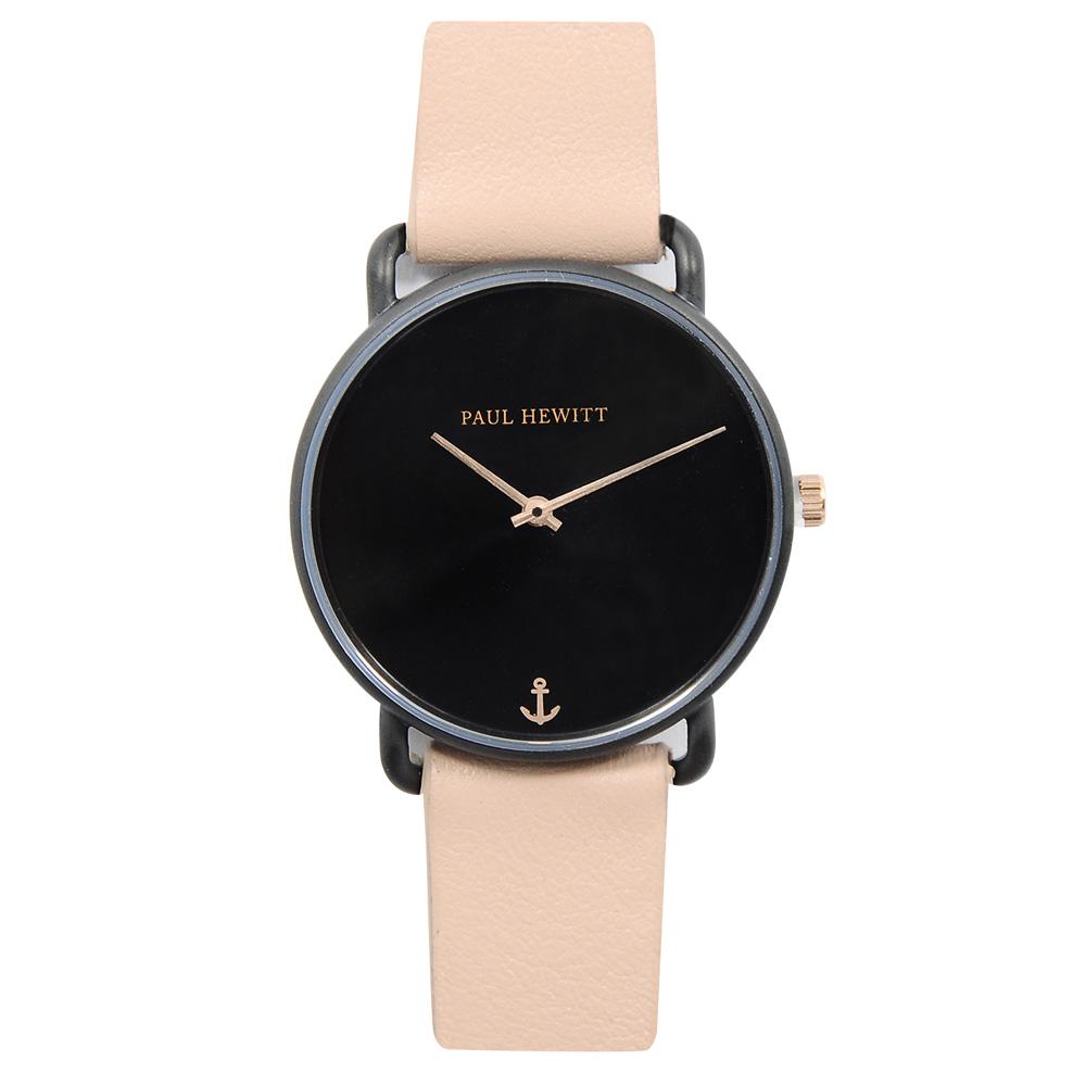 福利品-PAUL HEWITT Miss Ocean Line 黑錶面錶框 粉皮革錶帶手錶33mm