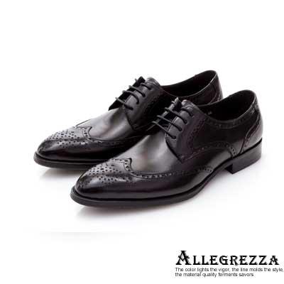 ALLEGREZZA-真皮男鞋-昂首闊步-沖孔雕花綁帶尖頭皮鞋  黑色