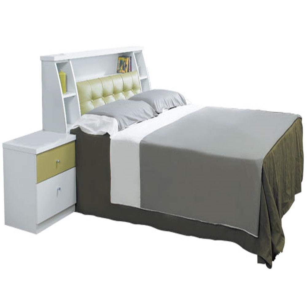 居家生活  貝特絲5尺白色雙人三件式後掀床組(床頭箱+後掀床底+獨立筒床墊)