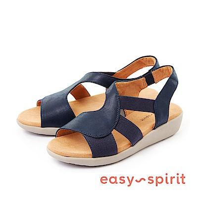 Easy Spirit--舒適彈性輕巧厚底涼鞋-俐落藍