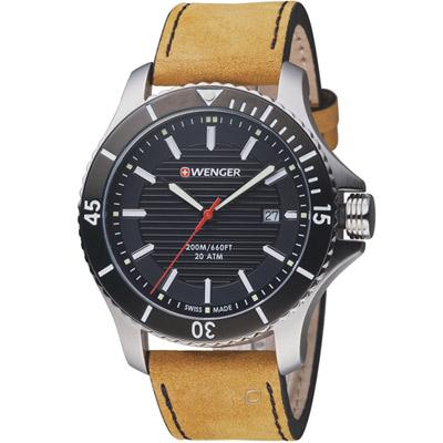 瑞士WENGER Seaforce海勢系列 征服怒海潛水腕錶-淺棕色/45mm