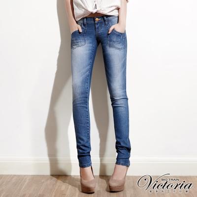 Victoria TENCEL前貼袋小直筒褲-女-淺藍