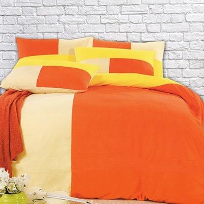 美夢元素 磨毛-被套床包組-香橙乳酪(雙人)