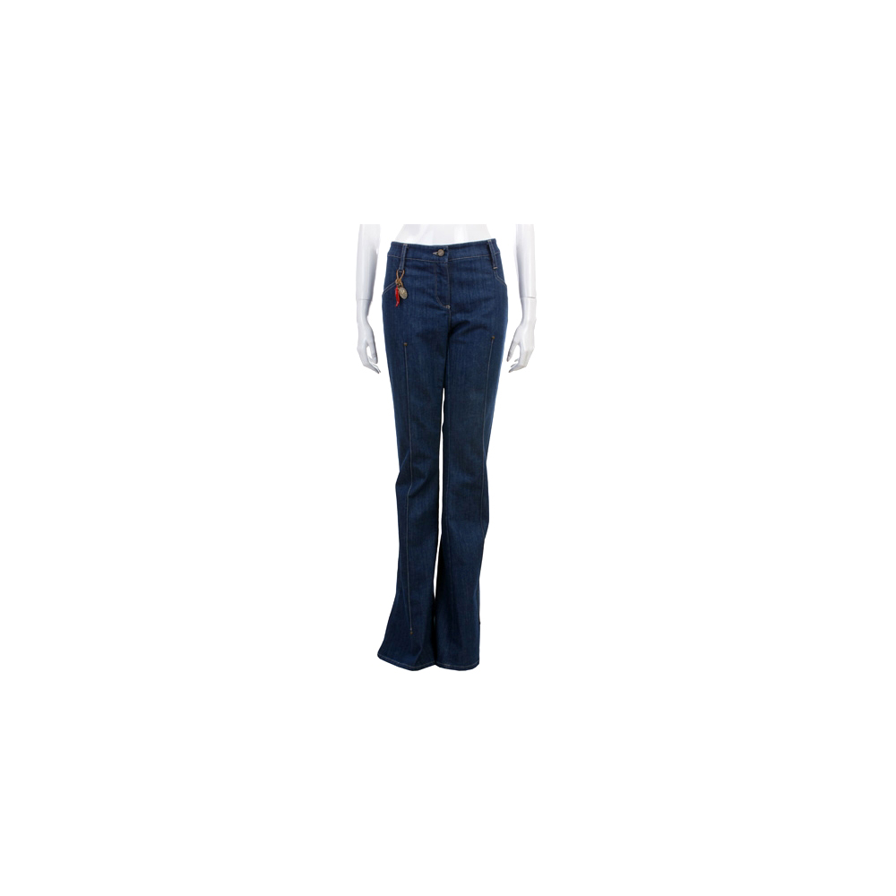 GFFERRE 藍色車線牛仔喇叭褲(附吊飾)