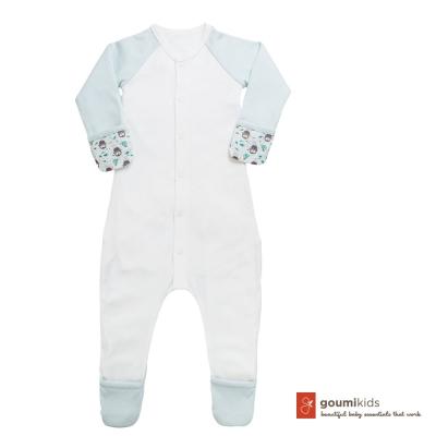 美國 GOUMIKIDS 有機棉嬰兒包腳連身衣 (小企鵝-綠色)