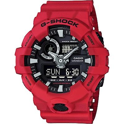 CASIO 卡西歐G-SHOCK 金屬元素雙顯手錶-紅(GA-700-4ADR)