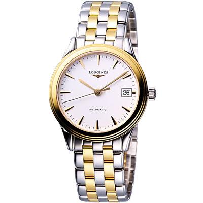 LONGINES Flagship 優雅旗艦機械腕錶-銀x雙色版/38.5mm