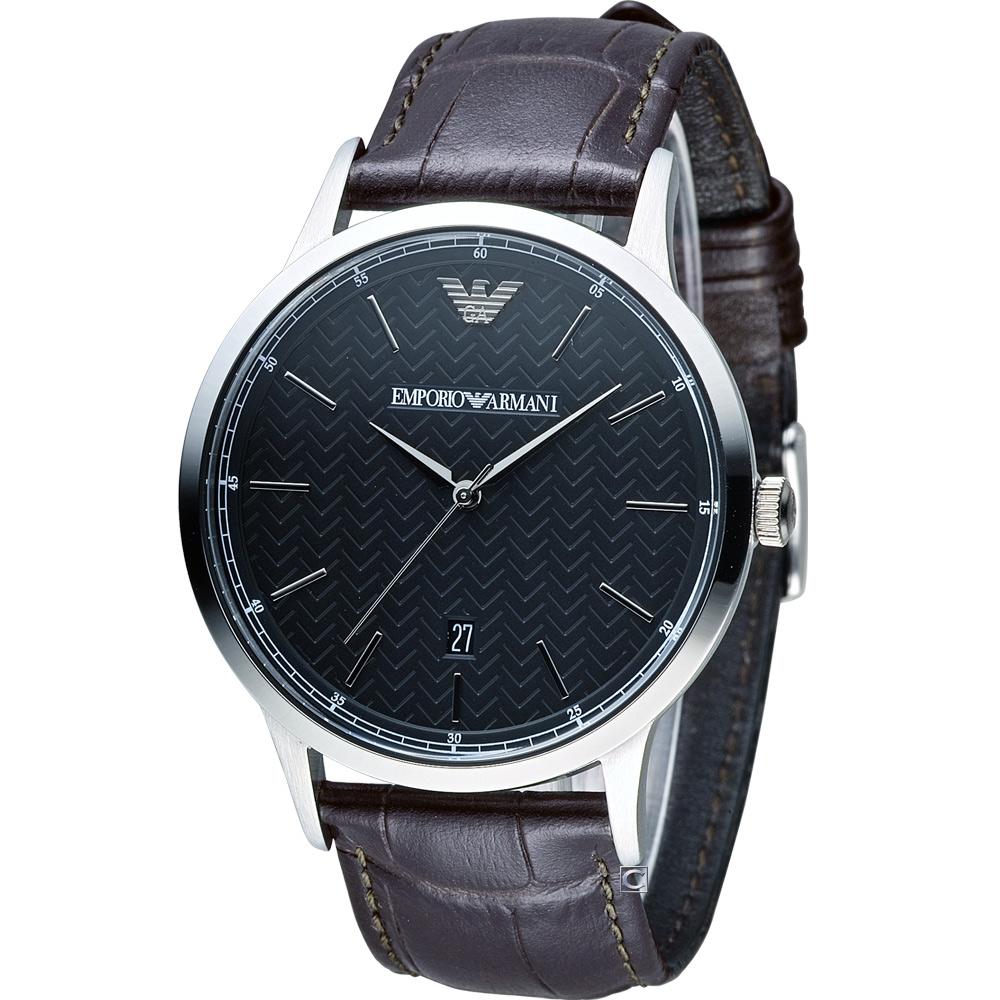 EMPORIO ARMANI Classic 都會簡約時尚腕錶-咖啡色x黑/43mm