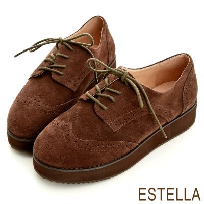 ESTELLA-英倫好感-牛麂皮雕花牛津厚底鞋-棕