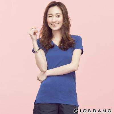 GIORDANO-女裝好感百搭V領短袖TEE-63琉璃藍