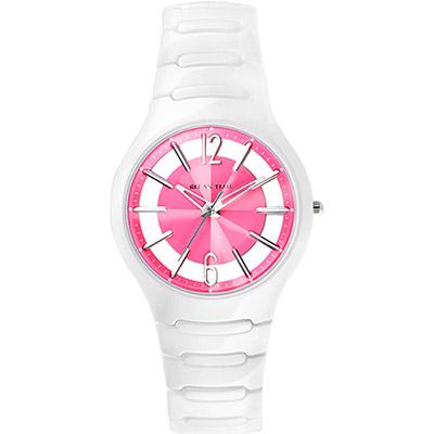 RELAX TIME RT26 鏤空陶瓷腕錶-粉紅x白/37mm