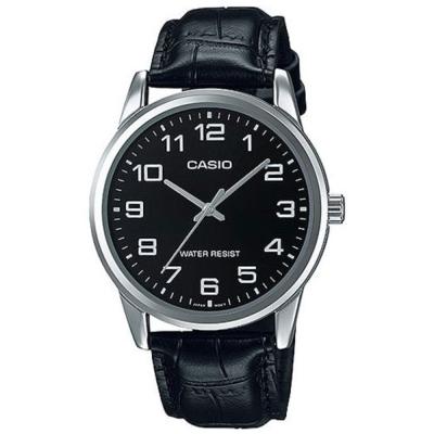 CASIO 經典復古時尚簡約指針紳士腕錶(MTP-V001L-1B)黑面X銀框/40mm