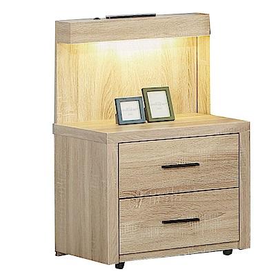 品家居 維爾拉1.6尺橡木紋二抽床頭櫃-48x40x80cm-免組