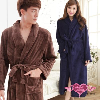 天使霓裳 浪漫純粹 甜蜜滿分情侶款珊瑚絨睡袍(深藍&咖啡F)