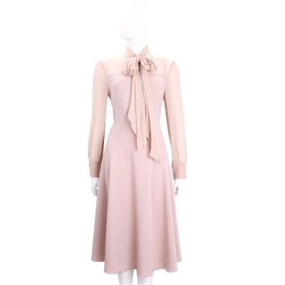 Max Mara 粉色紗質拼接長袖洋裝(附絲巾)