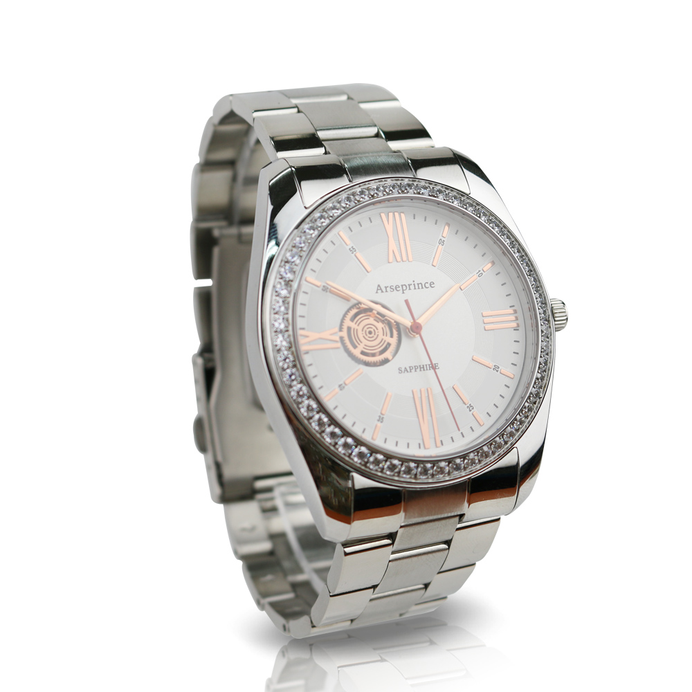 Arseprince 都會時尚立體鑲鑽銀帶中性錶-白