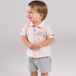 Dave Bella 粉色POLO上衣+灰色短褲套裝2件組