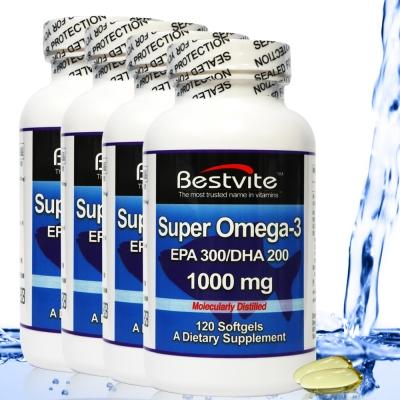 美國BestVite 必賜力超級OMEGA-3魚油膠囊4瓶組 (120顆*4)效期2019/08