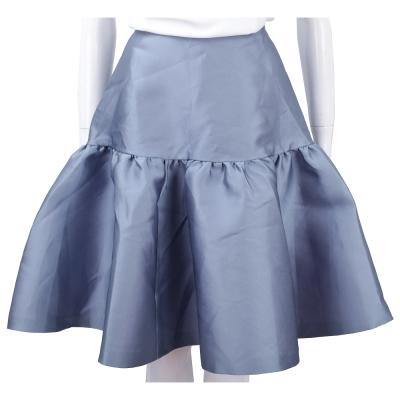 Max Mara 緞面藍紫色荷葉剪裁絲質澎裙