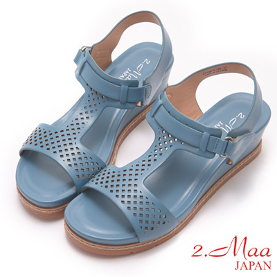 2.Maa-樂活休閒馬卡龍色楔型厚底涼鞋-藍