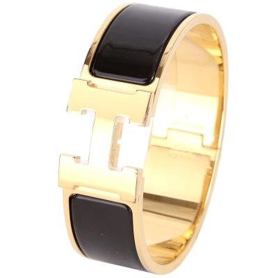 HERMES Clic Clac H 經典LOGO設計手環(GM/黑色)