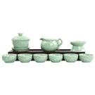 品閒 魚戲河塘 青瓷浮雕禮盒茶具(11件組) (快)
