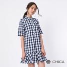 CHICA 甜美翻糖色鄉村格紋襯衫式設計洋裝(2色)