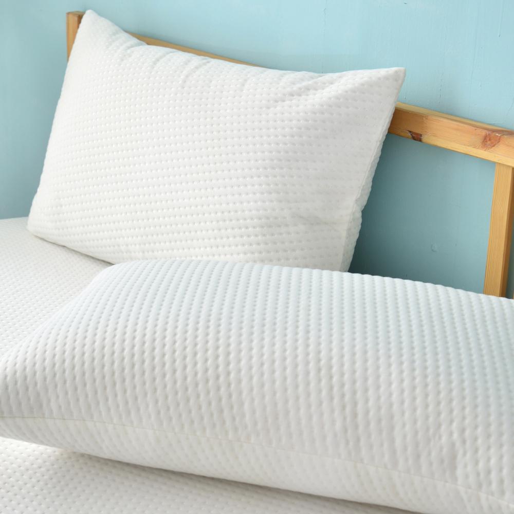 義大利La Belle 純白品味 防蹣抗菌透氣防水信封式保潔枕套-2入