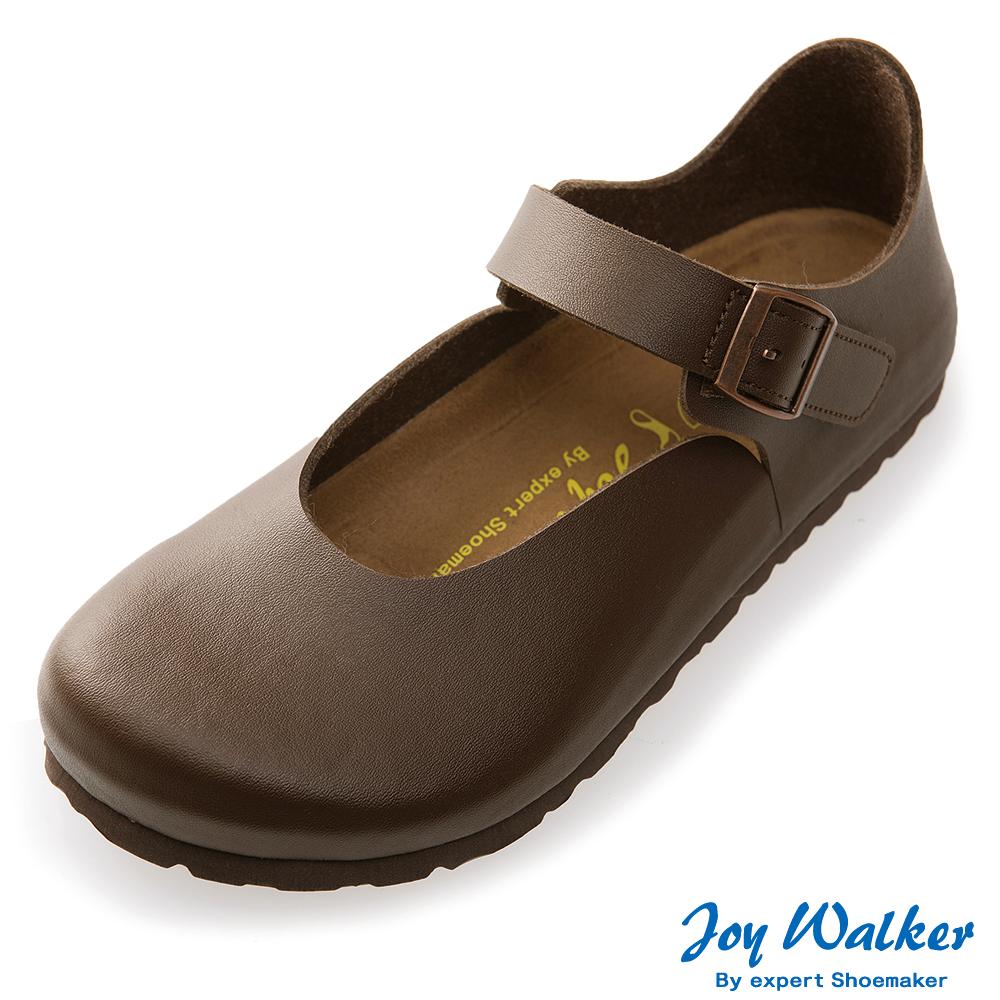 Joy Walker 休閒魔鬼沾釦帶包鞋*深咖啡