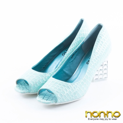 nonno-奢華閃亮-鱷魚紋水鑽粗跟魚口鞋-淡藍