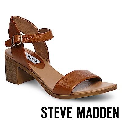 STEVE MADDEN-APRIL-真皮質感素面粗跟鞋-咖啡
