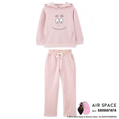 AIR-SPACE-泡泡先生居家內刷毛大學T連帽套裝-童裝-粉紅