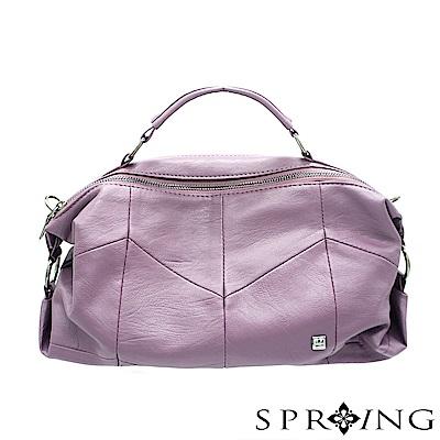 SPRING-誘人潘朵拉柔軟真皮側背包-低調浪漫紫