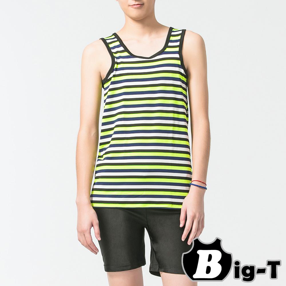 泳衣束胸 繽紛綠無袖套頭橫條泳衣褲組(3XL-5XL) BIG-T