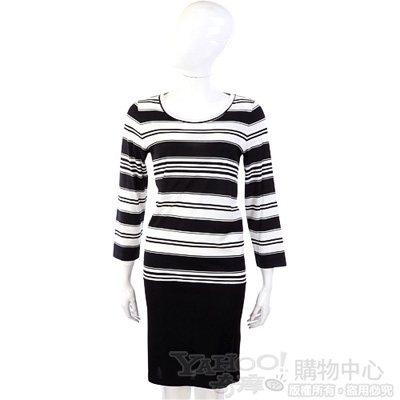 MOSCHINO  黑色條紋七分袖洋裝