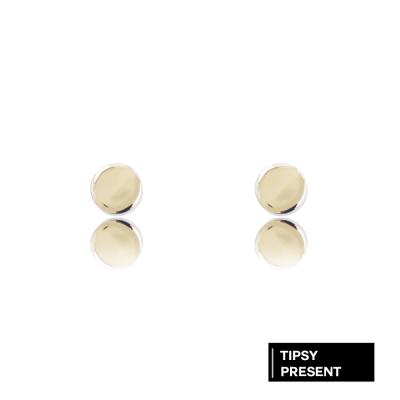 微醺禮物 耳環 鍍18K金 6mm 迷你圓形 針式 耳環