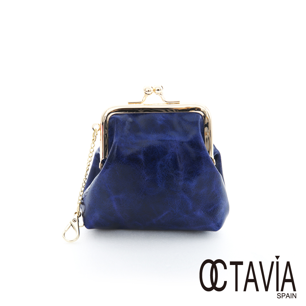 OCTAVIA 8 真皮 - 復古牛皮小口金零錢包 - 藍
