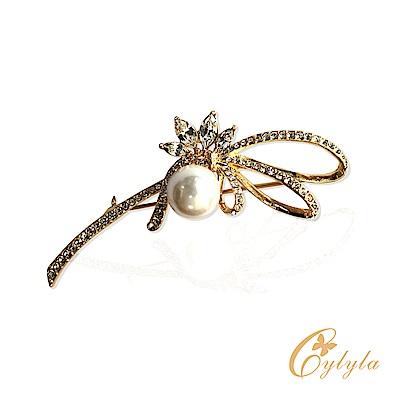Cylyla思琳娜 施華洛世奇元素揮彩撒緞珍珠胸針別針B10998G