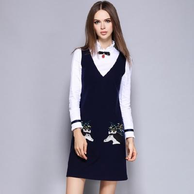 假兩件花邊領墜飾刺繡長袖連衣裙-M2M