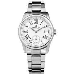 BENTLEY 賓利 羅馬 秒針視窗 日本機芯 德國製造 不鏽鋼手錶-銀色/32mm