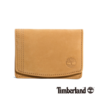 Timberland 男款駝色Logo壓紋皮革卡夾