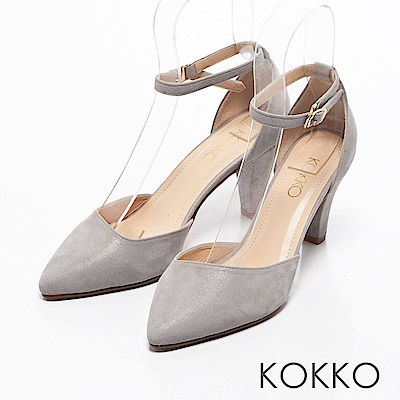 KOKKO -復刻經典尖頭踝帶真皮高跟鞋-溫柔灰