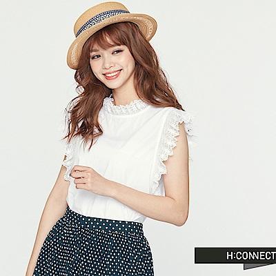 H:CONNECT 韓國品牌 女裝 - 無袖蕾絲滾邊造型上衣-白 - 動態show