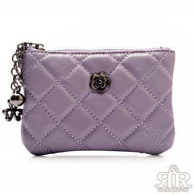 2R 綿霜羊皮KOKO極軟菱格小拎包 羅蘭粉紫
