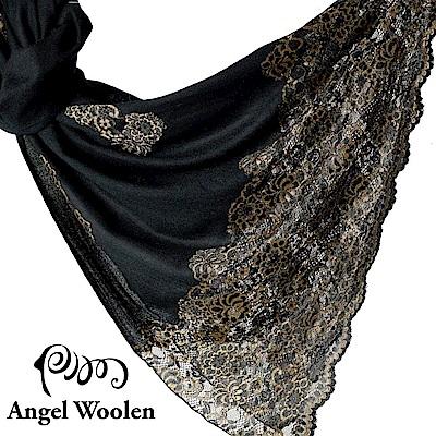 【ANGEL WOOLEN】印度手工法國蕾絲披肩圍巾(黑鑽瑪卡)