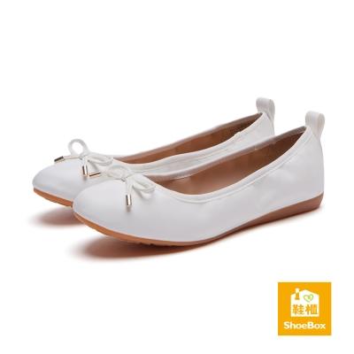 鞋櫃ShoeBox 平底鞋-軟底鬆緊蝴蝶結娃娃鞋-白