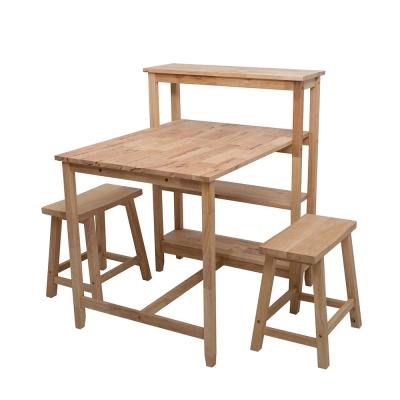諾雅度-原生實木多功能置物桌椅組(一桌二椅)原木色-寬90x深80x高102cm